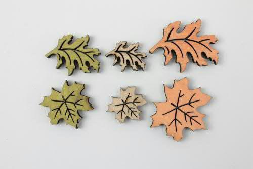 Blätter Holz SP 3-5cm 48St., grün/natur