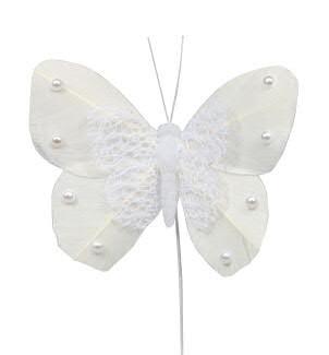 Schmetterling 8cm 12St.am Draht Federn, weiß