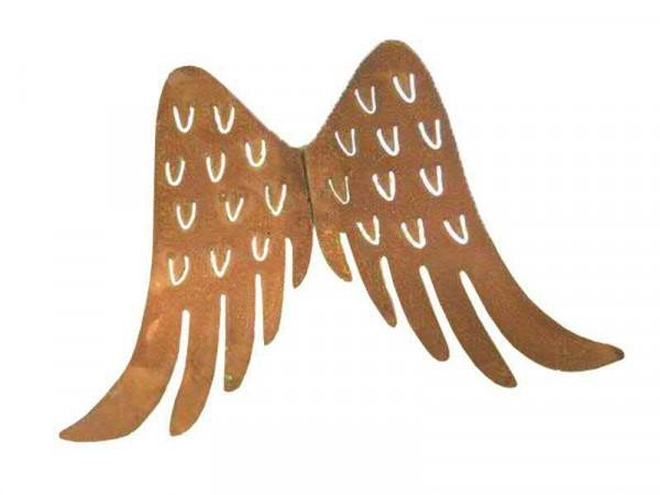 Engelsflügel Metall 11cm mit Pin, rost