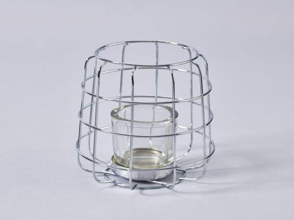 Glas Teelicht SP D13H13cm i.Drahtkorb, silb/klar