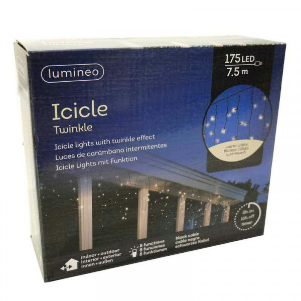 Lichtervorhang 750LED 7,5m Twinkle out 8 Funktionen + Timer Icicle Lights, warm weiß