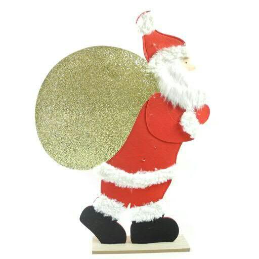 Niko Filz 65x90cm auf Holzstand mit Glitter, rot/gold