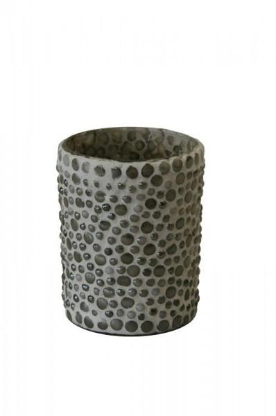 Glas Teelicht 3St.D8H10cm Mosaik, creme