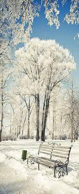 Banner 75x180cm Bank im Schnee