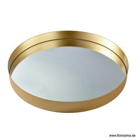 Teller Metall D51H5cm mit Spiegel, gold