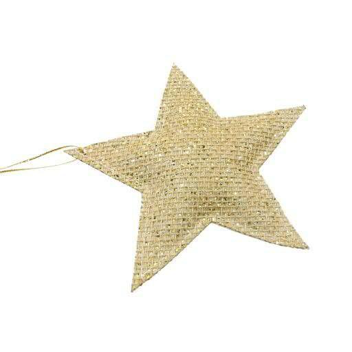 Stern Jute D14cm 6St.zum Hängen, gold