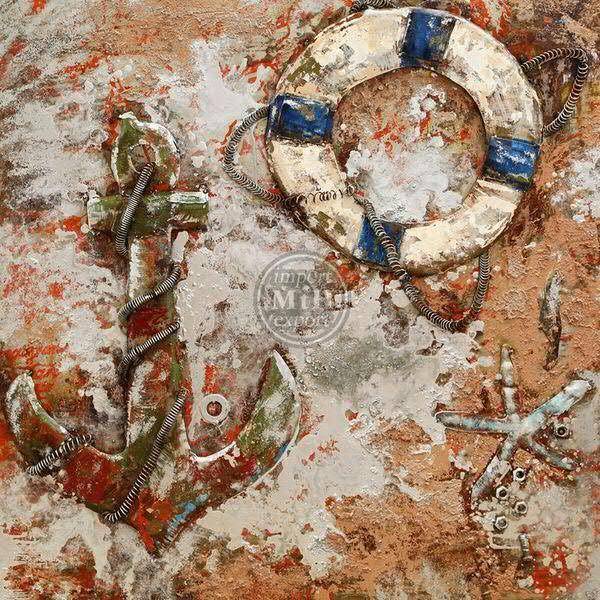 Bild Metall 80x80x6cm, Maritim
