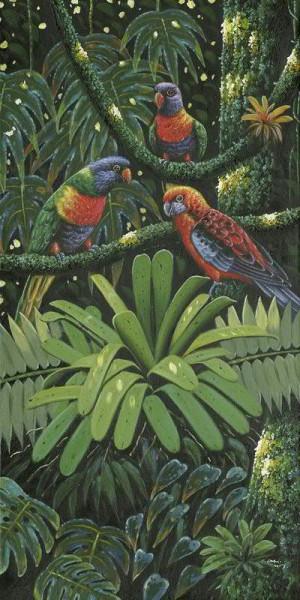 Bild Öl 50x100cm 3 Papageien, bunt