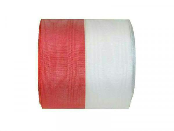 Kranzband 1070/150mm 25m Moire, rot/weiß