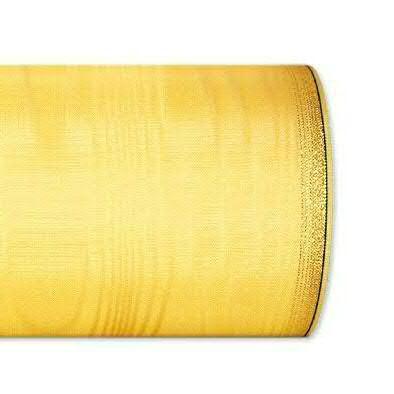 Kranzband 6694/100mm 25m Moire Goldrand, 612 h.gelb