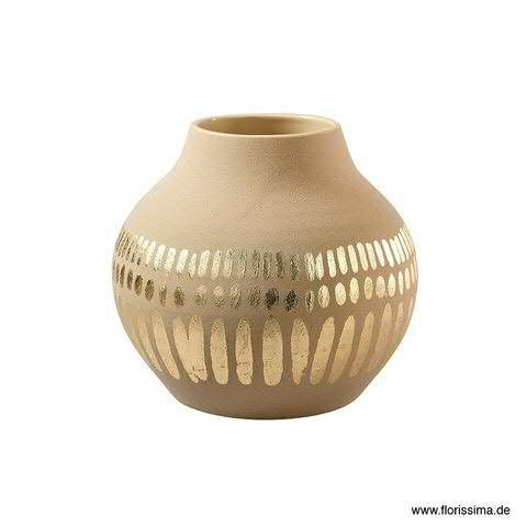 Vase Keramik D30H27cm bauchig, sand