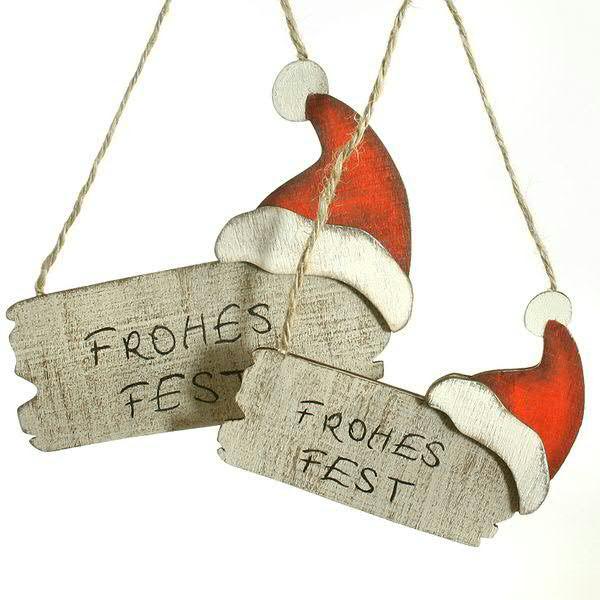 Herz Schild FROHES FEST zum Hängen Metall rost Dekoration Weihnachten