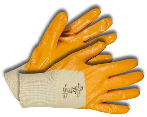Handschuhe Gr.08 Baumwolle/Nitril, weiß/gelb