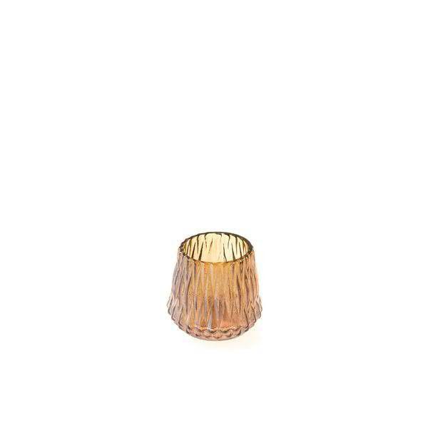 Glas Teelicht D9H9cm 6St.mit Rillen, braun