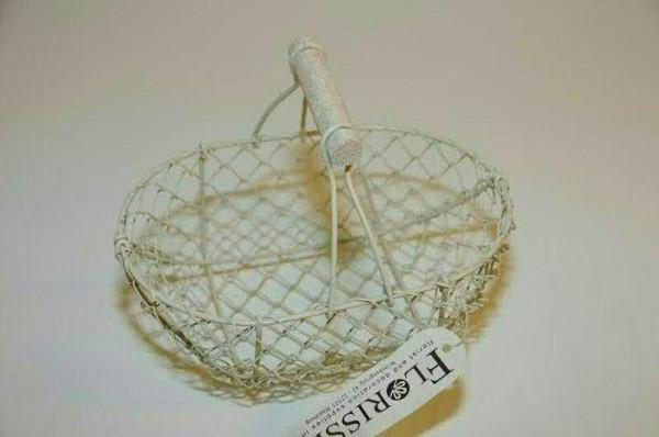 Draht Korb 20x13x18cm mit Griff, weiß