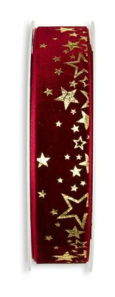 Band Samt 657/25mm 6m Sterne, 65 bordeau