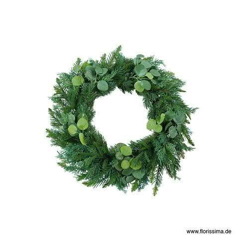 Tannen/Eukalypthus Kranz 58cm, grün