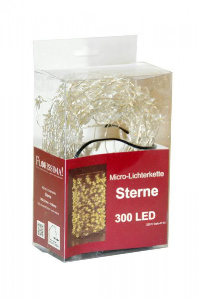 Microlichterkette SP 300LED Sterne 11m, outdoor ww