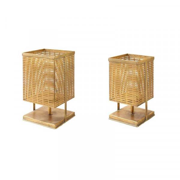 Kerzenständer Metall S/2 D17/21H30/36, ant.gold