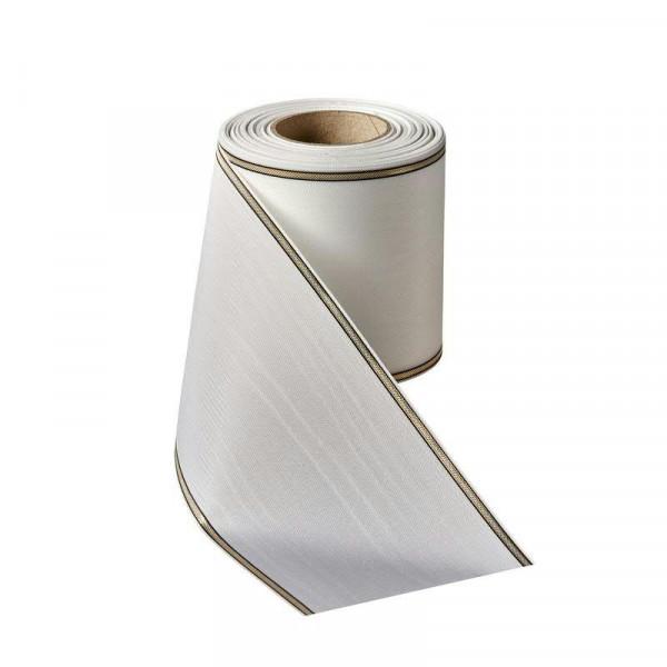 Kranzband 0471/150mm 25m Moire Rand gold/schwarz, 001 weiß