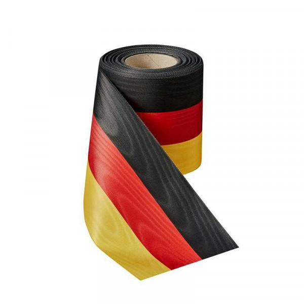 Kranzband 00021/150mm 25m Moire, schw/ro/go