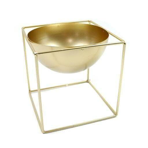 Schale Metall 17x17x17cm auf Stand, gold