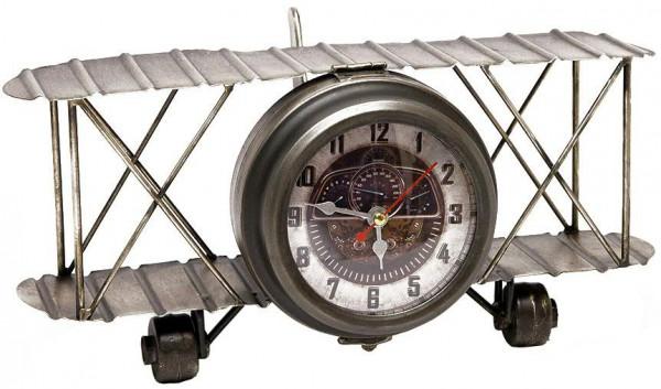 Uhr Metall SP 33x22x15cm Flugzeug