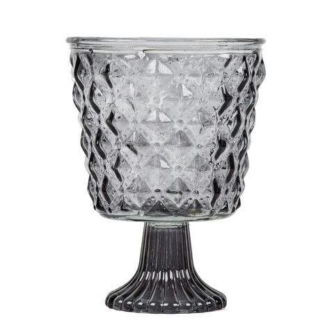 Glas Windlicht H18D13,3cm auf Fuß, grau