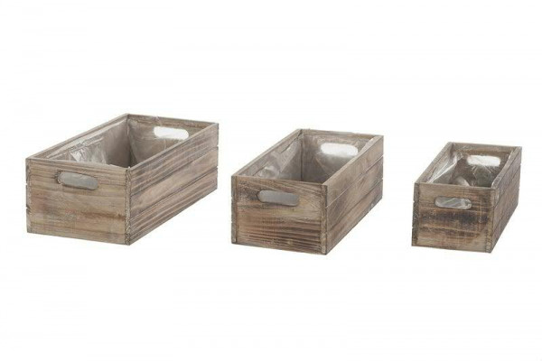 Kiste Holz S/3 29x12+32,5x15+35x17,5cm, braun