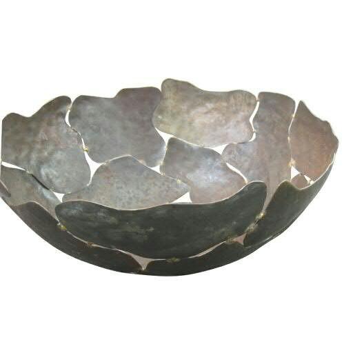 Schale Metall SP D40H17cm, braun/rost