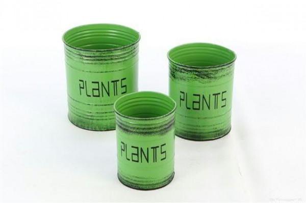 Dose Metall S/3 D9/11/13H12/13,5/15cm zum bepflanzen, grün
