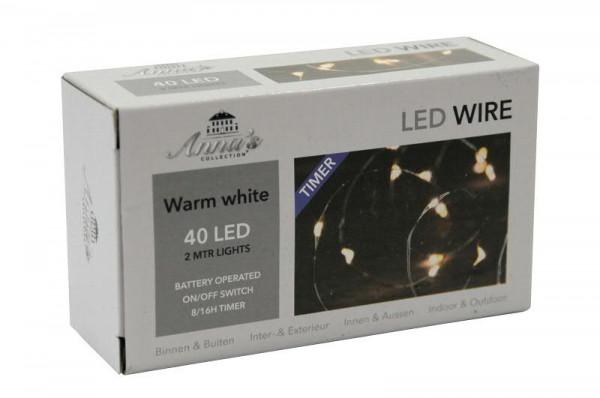 Microlichterkette 40LED 2m outdoor mit Timer für Batterie transparent, warm weiß