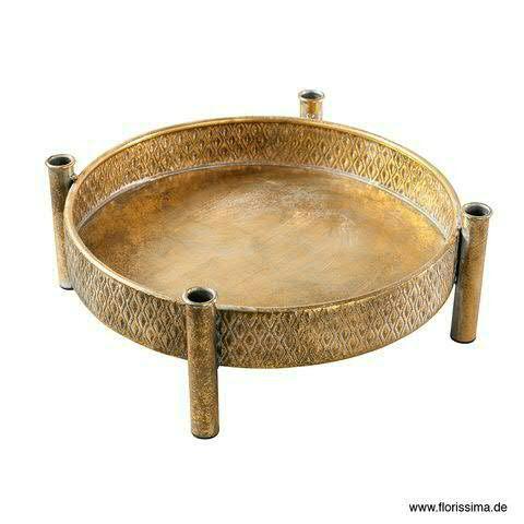 Tablett Metall D38H15cm m.Kerzenhalt, antik gold