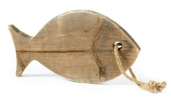 Fisch Holz 30x17cm zum Hängen, braun/nat.