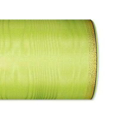 Kranzband 6694/100mm 25m Moire Goldrand, 603 apfel