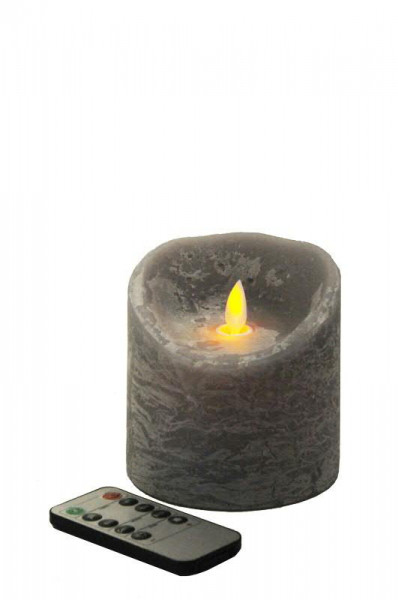 LED Echtwachskerze D10H10cm m.Flamme, grau