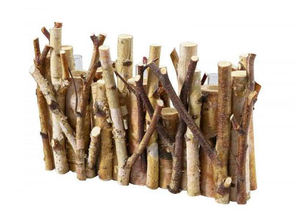 Deko Holz 34x25cm m.3Gläsern, natur