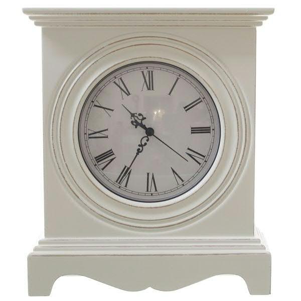 Uhr Holz 25x9x29,5cm, weiß