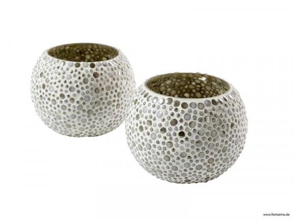 Glas Teelicht 2St.D12cm mit Punkten, creme