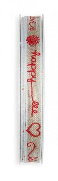 Band Leinen 904/10mm 15m Schrift, 77 nat/rot