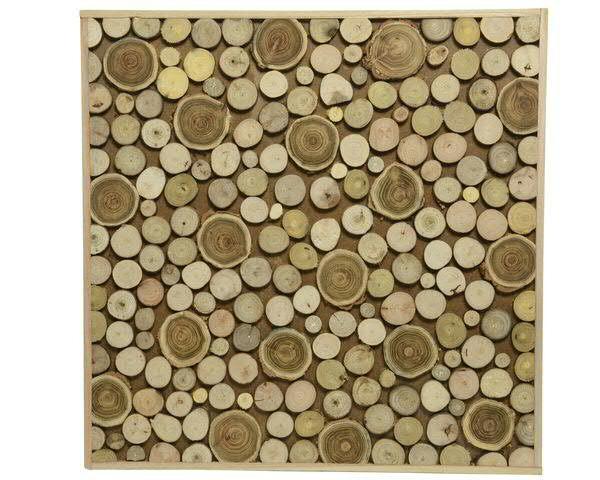 Wanddeko Holz 2x60x60cm, natur