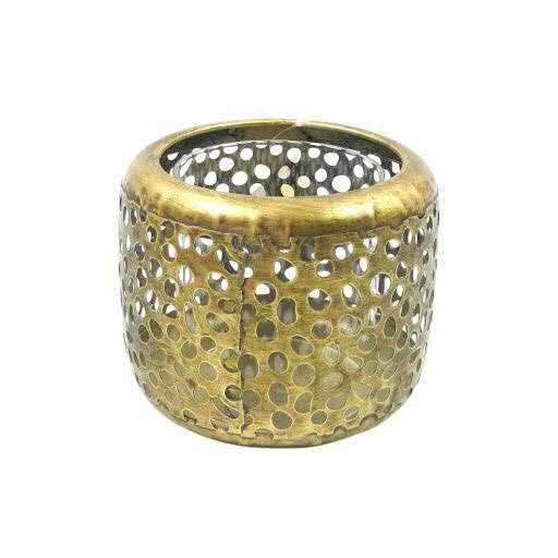 Windlicht Metall D11,5H9,5cm, antik gold