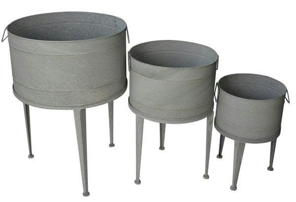 Schale Zink SP S/3 D58/45/36cm auf Fuß, grau
