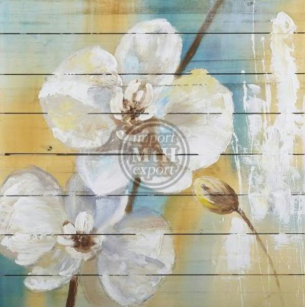 Bild Holz SP 80x80x5cm, Blume weiß