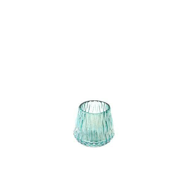 Glas Teelicht D9H9cm 6St.mit Rillen, türkis