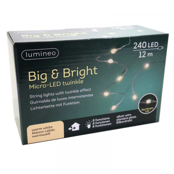 Lichterkette Micro Big 240LED 12m out Micro LED Strang mit Funktionen, warm weiß