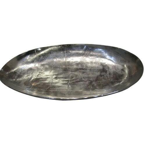 Tablett Alu 76x50cm oval, silber