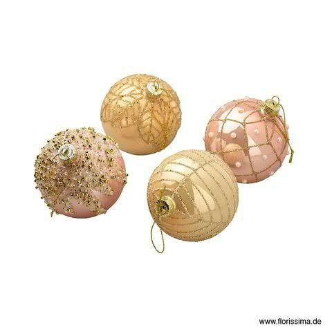 Weihnachtskugel 8cm 12St. sortiert gold/pink, gold/pink
