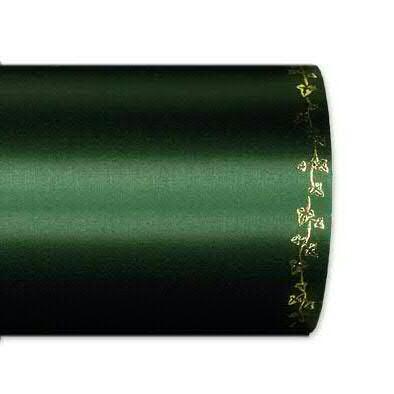 Kranzband 2505/100mm 25m Satin Efeurand gold, 748 d.grün