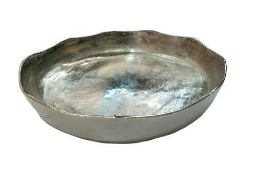 Schale Alu antik D40H7cm gewellt mit Rand, silber